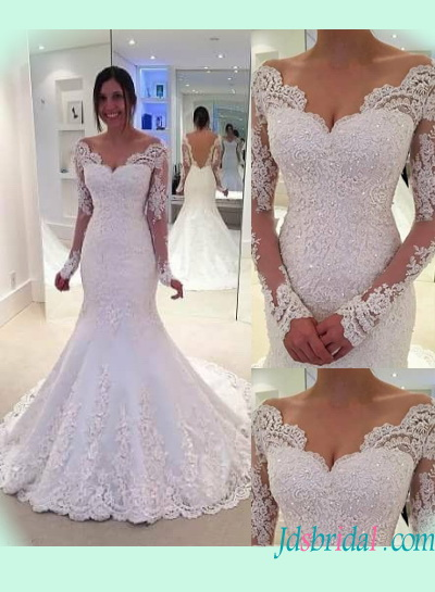H1393 Sexy sheer back illusion long sleeved lace mermaid wedding dress