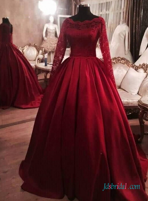H1394 Red Burgundy Colored Long Sleeves Satin Ball Gown Wedding Dress