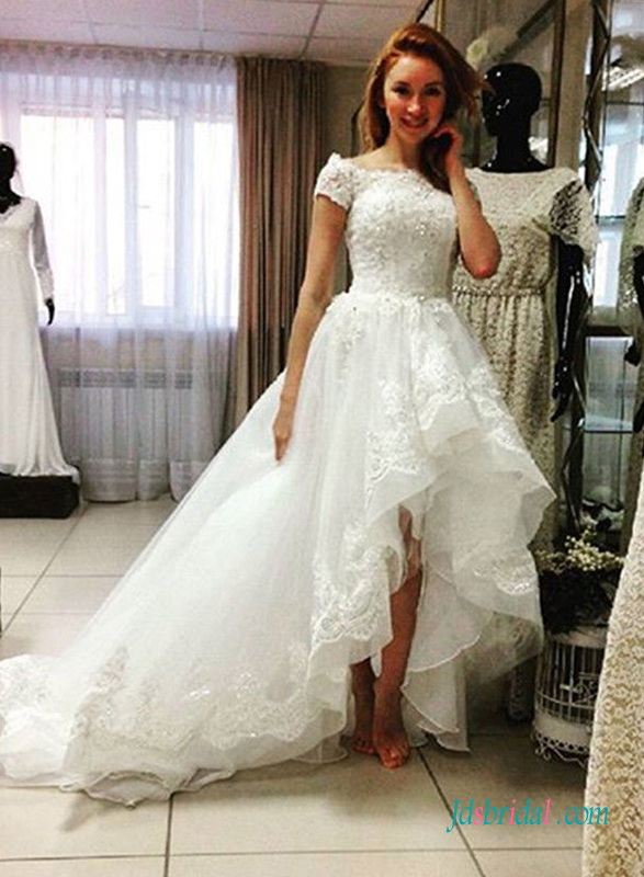 sexy high low hemline organza lace wedding dress with bateau neck and short sleeves