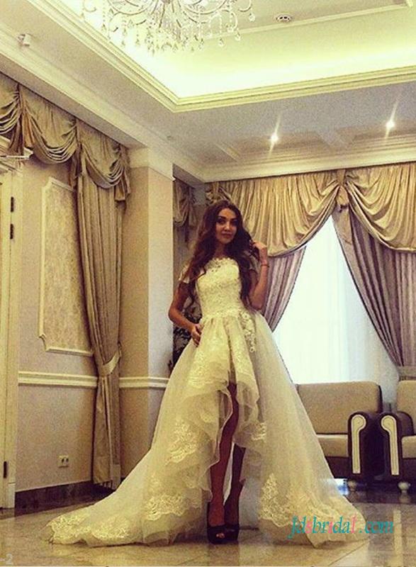 H1395 Stunning High Low Hemline Organza Wedding Dress