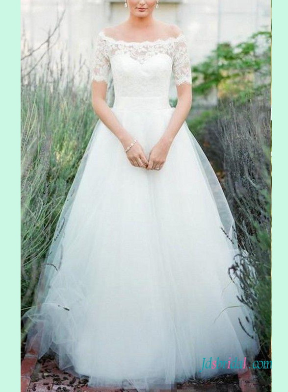H1396 Beautiful illusion lace back short sleeves tulle wedding dress