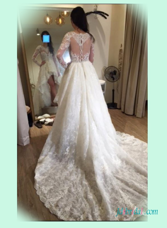 H1397 Sexy illusion sheer back long sleeved high low wedding dress