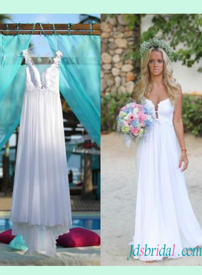 sexy sheer back plunging deep neck chiffon flowy boho wedding dress with lace bodice