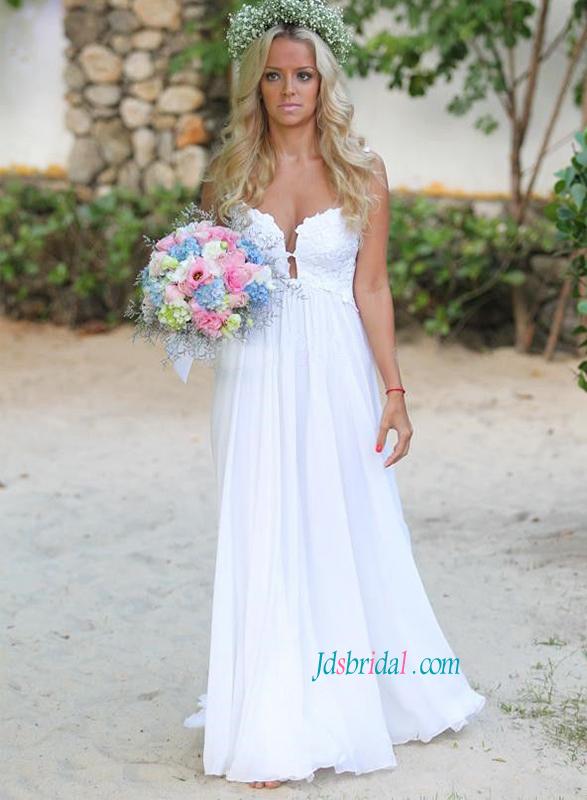 H1398 Sexy Sheer Back Boho Beach Chiffon Wedding Dress