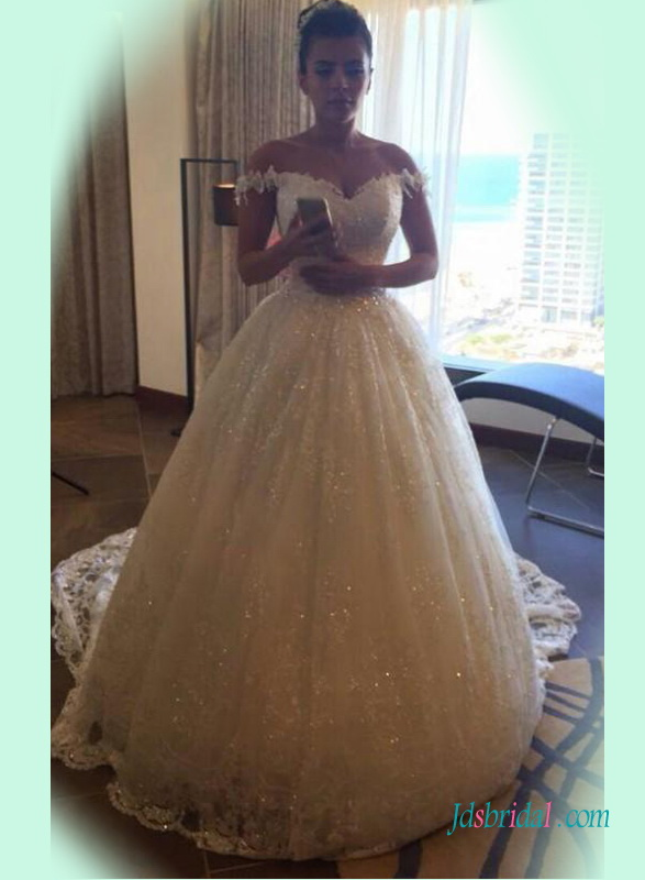 H1399 Sparkly lace princess wedding ball gown with off shoulder