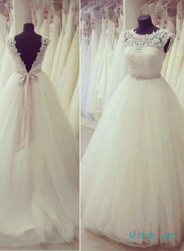 H1400 Sweety illusion lace scoop neck open back princess wedding dress [H1400]