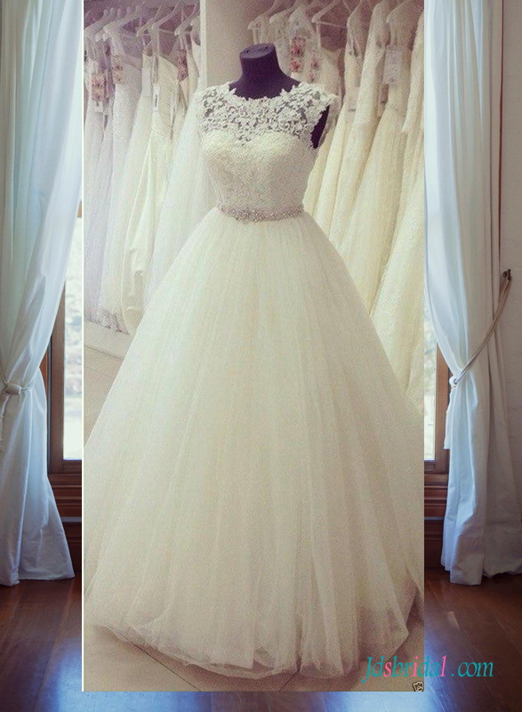 H1400 Sweety illusion lace scoop neck open back princess wedding dress