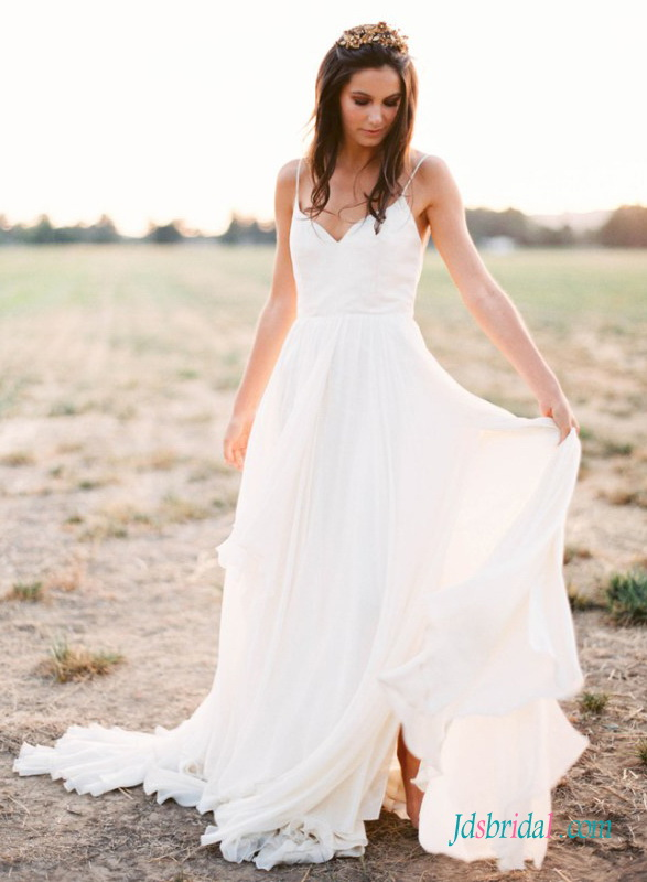 H1403 Romance simple boho beach wedding dress with thin straps :