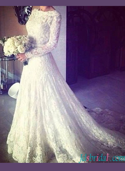 modest long sleeved beaded lace a line wedding dress with illusion lace back