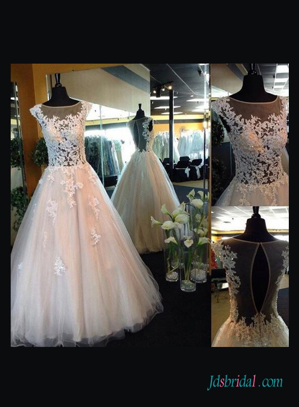 H1410 Sexy illusion lace sheer back ball gown wedding dress