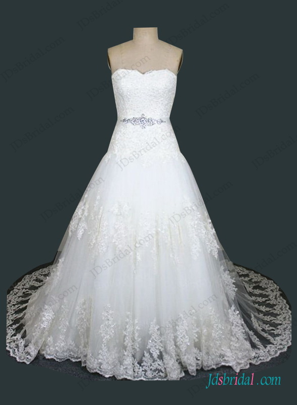 H1411 Plus Size Dropped Waistline Lace Ball Gown Wedding Dress