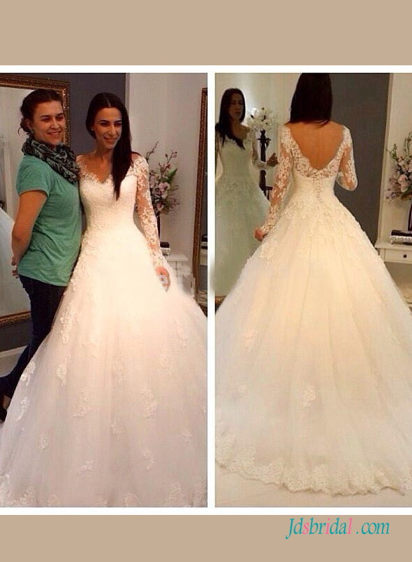 H1413 Romance illusion lace long sleeves ball gown wedding dress