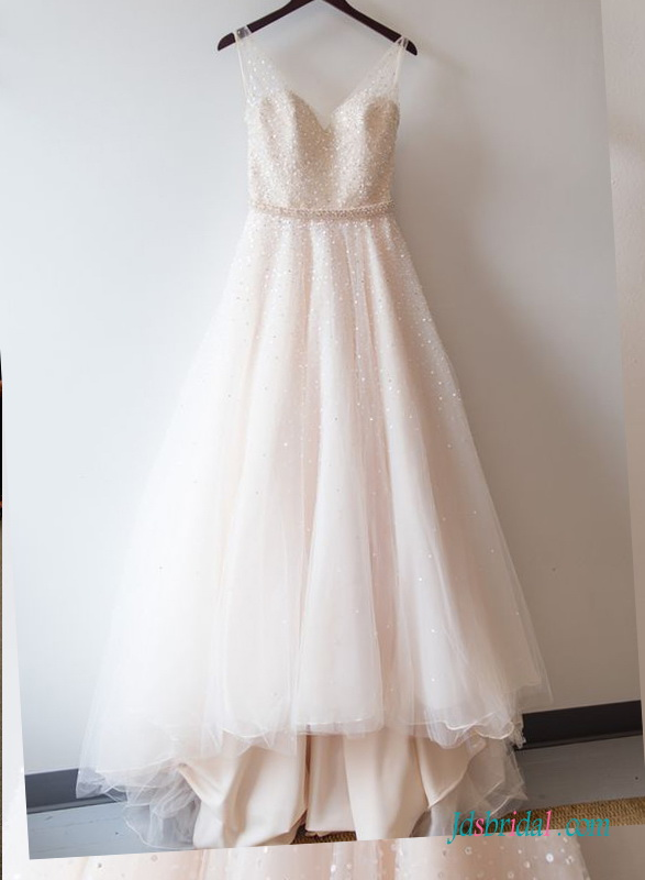 H1414 Light pink blush colored beading tulle wedding dress