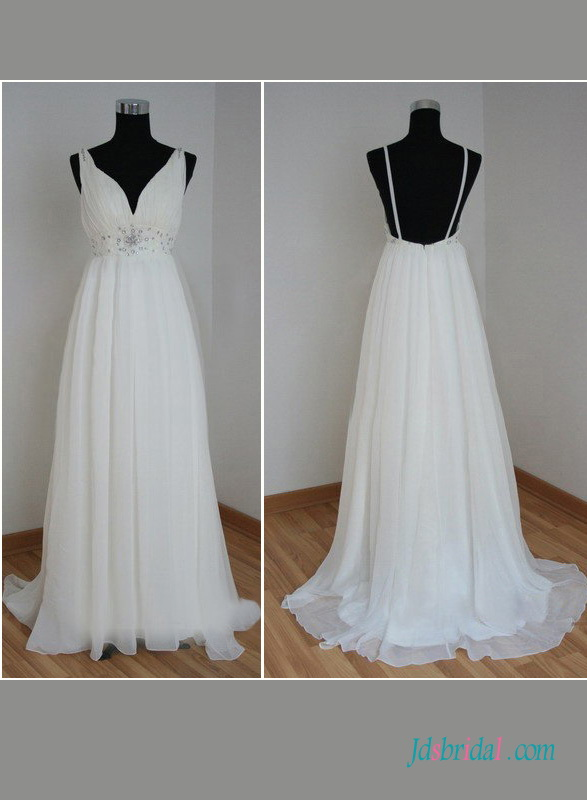 H1416 Simple Backless Babydoll Chiffon Beach Wedding Dress