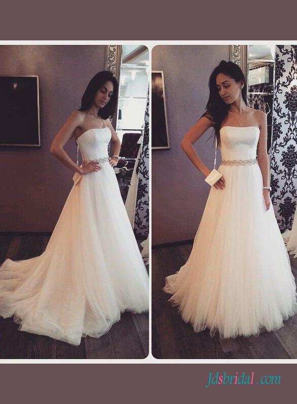 H1417 Simple a line tulle strapless wedding dress with belt