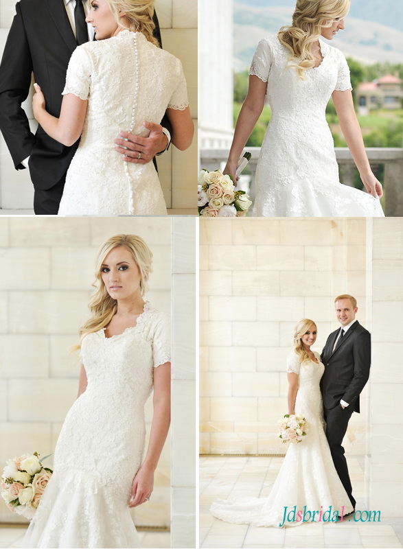 H1419 Modest vintage lace mermaid wedding bridal dress