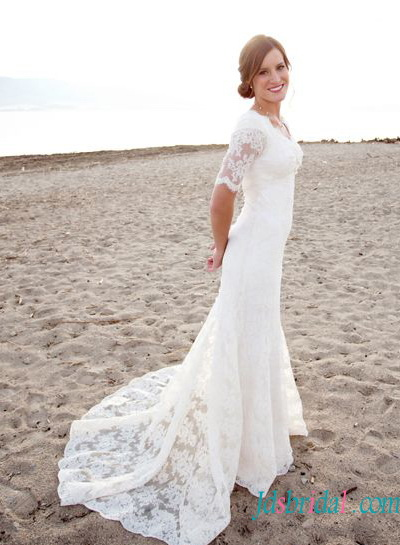 H1420 Modest short sleeves slim a line lace wedding dresses