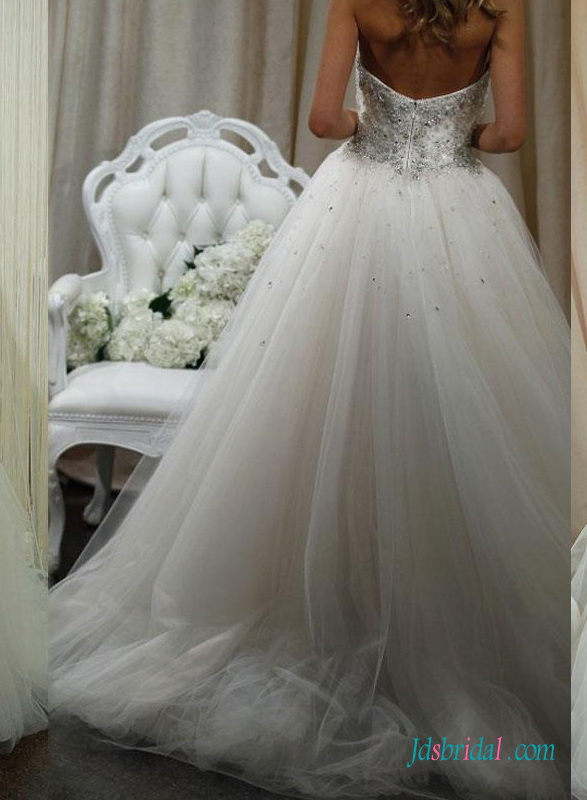 H1422 Sparkly beaded lace bodice princess ball gown wedding dress