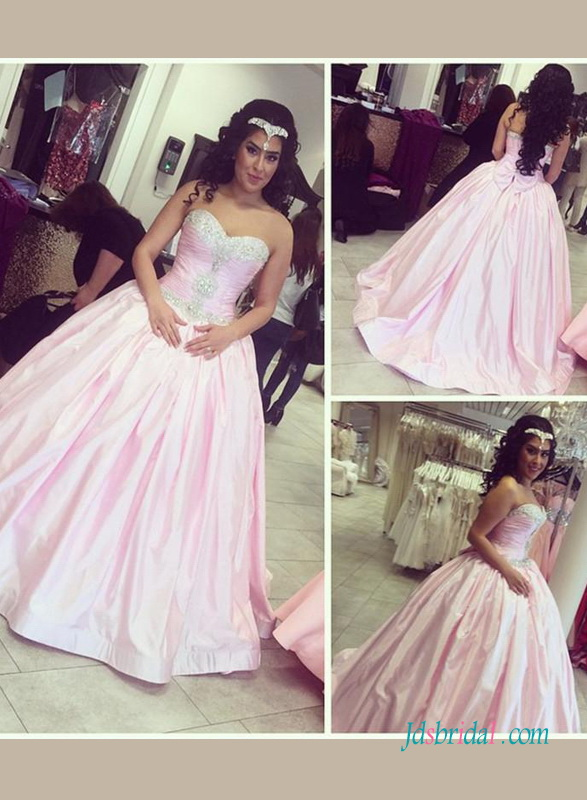 H1425 Sweety pink colored princess ball gown wedding prom dress