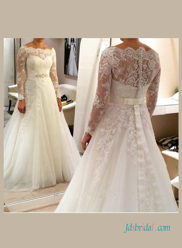 beautiful illusion lace bateau neck long sleeved princess ball gown wedding dress
