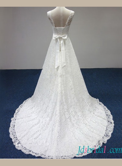 H1429 Cheap lace a line wedding dress with illusion bateau neck