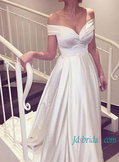 H1438 Simple vintage princess off shoulder wedding dresses