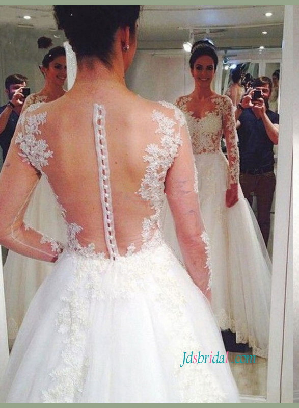 H1439 Gorgeous beading lace sheer back princess wedding dress