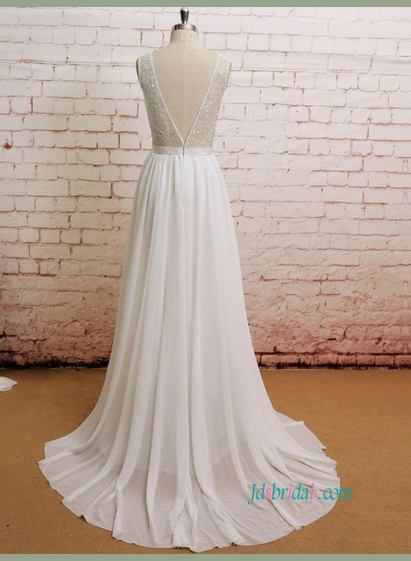 H1440 Romance Illusion lace v open back chiffon beach wedding dress