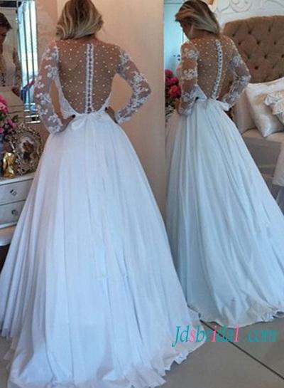 H1441 Sexy Illusion Pearls Detailed Back Chiffon Wedding Dress