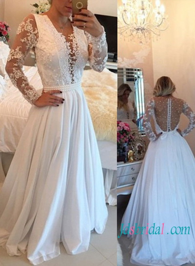 H1441 Sexy illusion pearls detailed back chiffon wedding dress