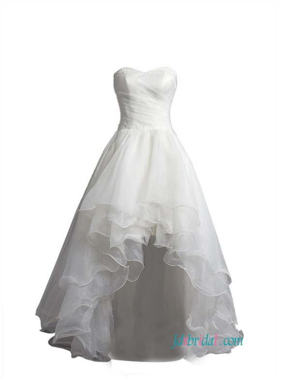H1443 Beautiful Layered High How Hemline Organza Wedding Prom Dress