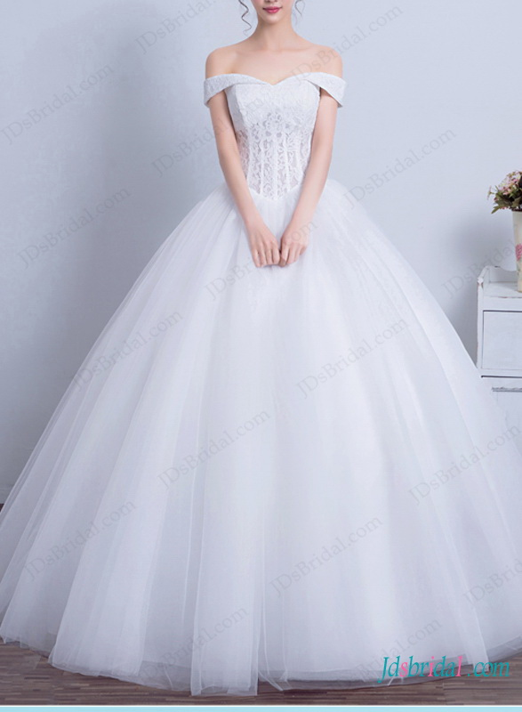 H1444 Disney princess off shoulder ball gown wedding dress :