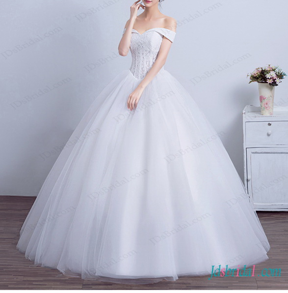 H1444 Disney Princess Off Shoulder Ball Gown Wedding Dress