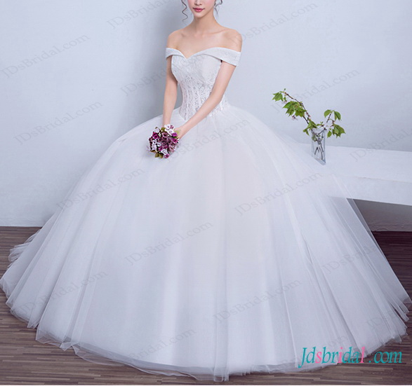 dreamy princess tulle wedding ball gown dress with portrait off shoulder neckline and illusion lace bodice