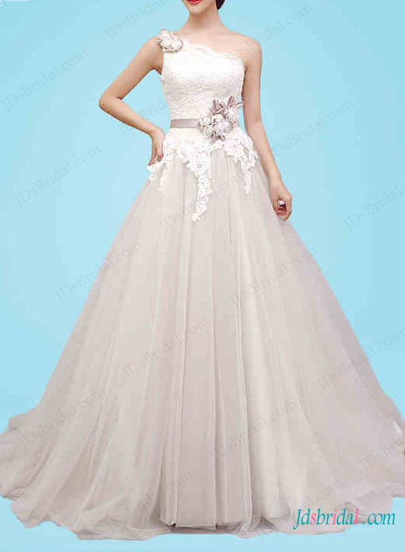 H1446 Dreamy one shoulder tulle princess wedding gown