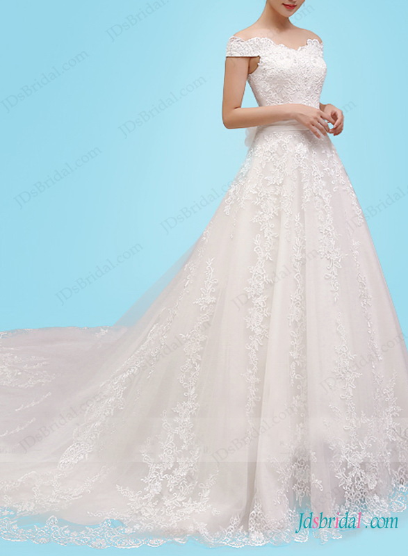 H1449 Fairytale off shoulder lace princess ball gown wedding dress