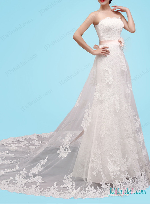 H1450 Romantic lace a line wedding dress with pink sash
