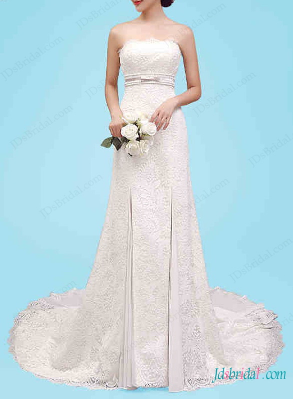 H1451 Beautiful strapless modifed a line lace wedding dress