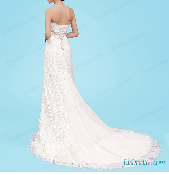 beautiful lace modified slim a line wedding dress with beaded belt and lace up corset back