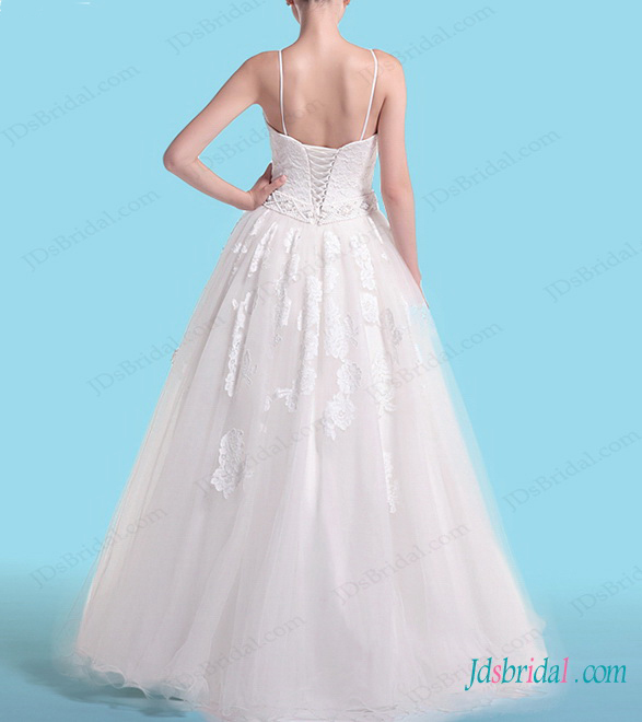 H1452 Sleeveless spaghetti straps lace tulle ball gown wedding dress