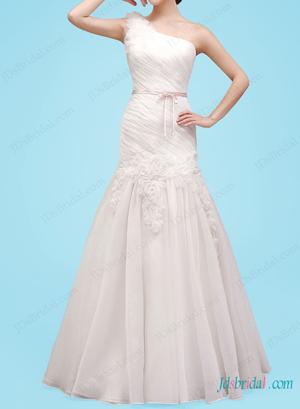 H1453 Beautiful one shoulder a line florals wedding dress