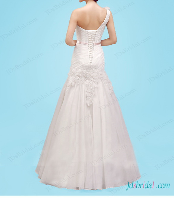 beautiful one shoulder pleated a line wedding dress with handmade rose flowers