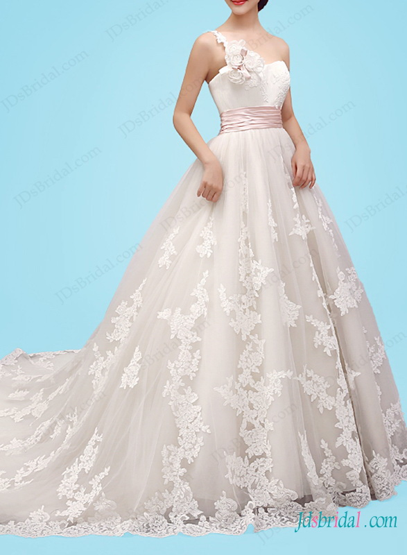 H1454 Feminine one shoulder princess ball gown wedding dress :