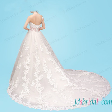 H1454 Feminine one shoulder princess ball gown wedding dress
