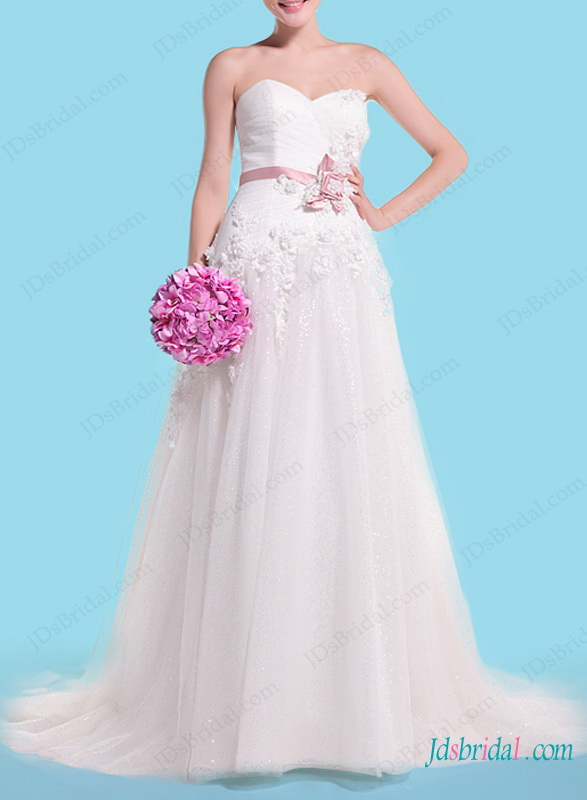 H1456 Spring florals details tulle a line wedding dress