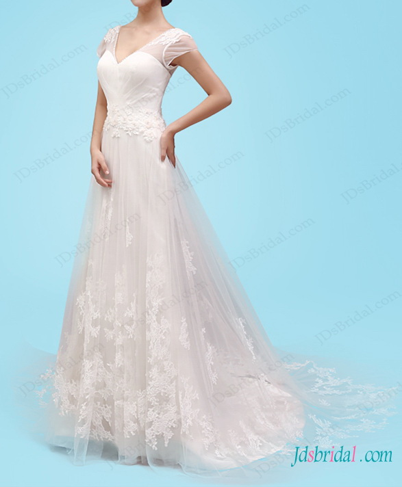 H1457 Romance short sleeved lace a line wedding dress