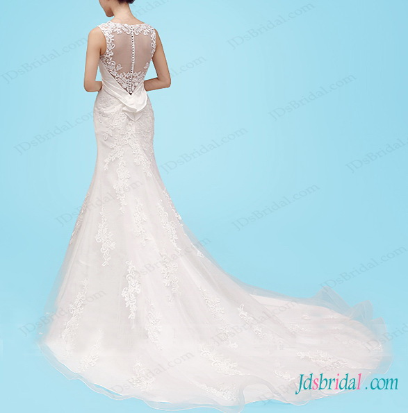 H1459 Illusion bateau neck lace sheath wedding dresses