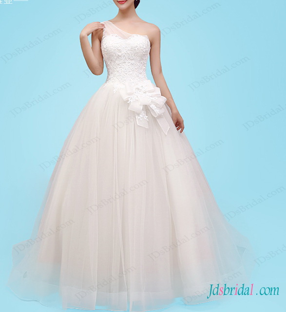 fairytale one shoulder princess tulle ball gown wedding dress with lace details