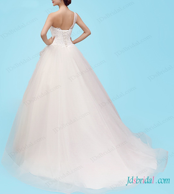 fairytale one shoulder princess tulle ball gown wedding dress with flowers