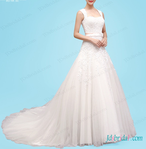 H1461 Princess a line wedding dress with cap sleeves
